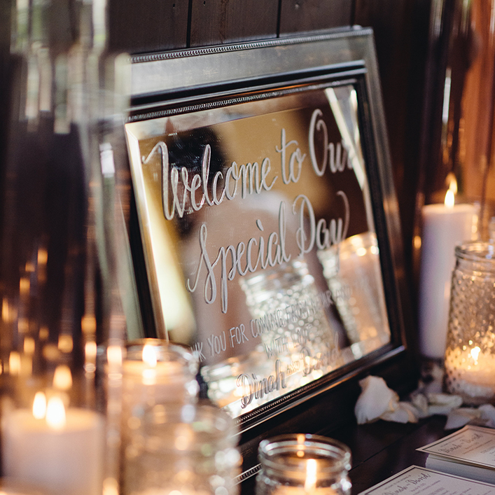 Sweet + Crafty | Mirror Wedding Welcome Sign with White Calligraphy