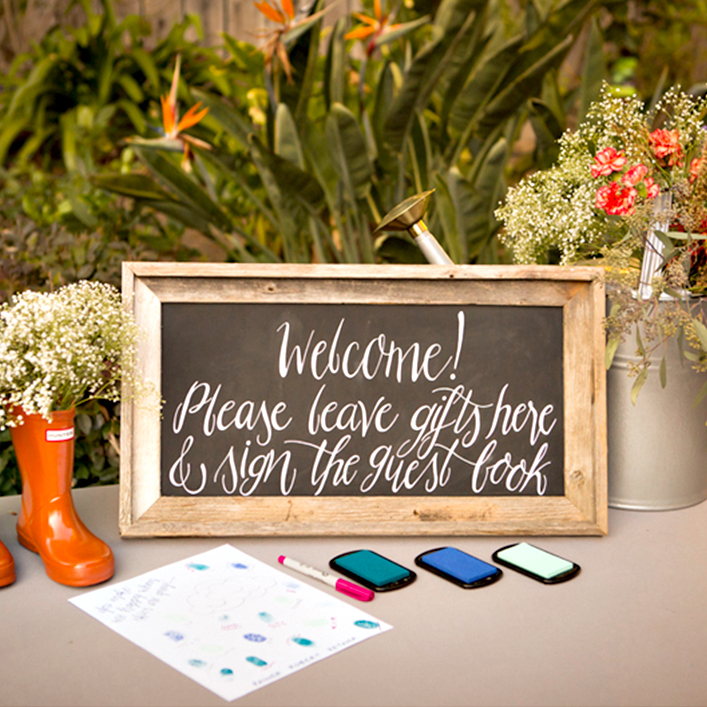 Sweet + Crafty | Chalkbaord Baby Shower Welcome, Guestbook, and Gifts Sign Calligraphy