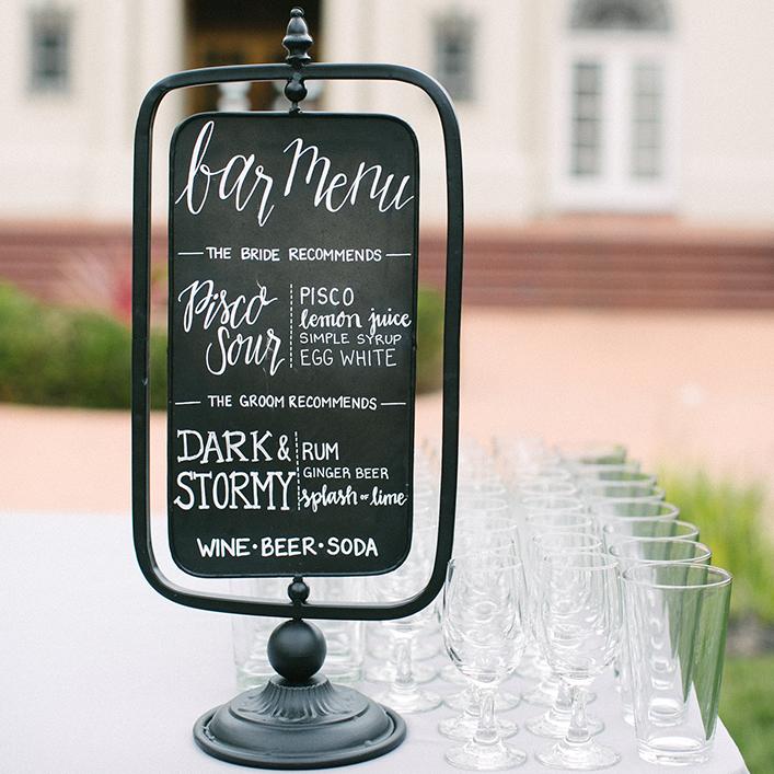 Sweet + Crafty| Chalkboard Wedding Bar Menu Sign Calligraphy