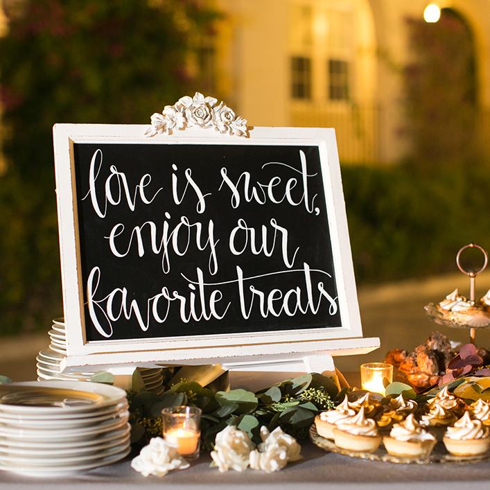 Sweet + Crafty | Chalkboard Wedding Dessert Sign Calligraphy