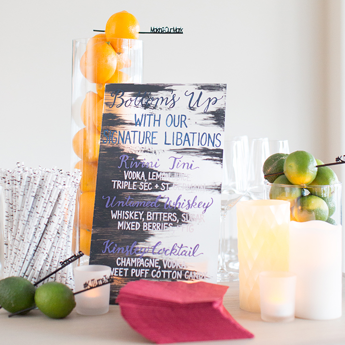 Sweet + Crafty | Plexiglass / Acrylic Bar Menu Calligraphy
