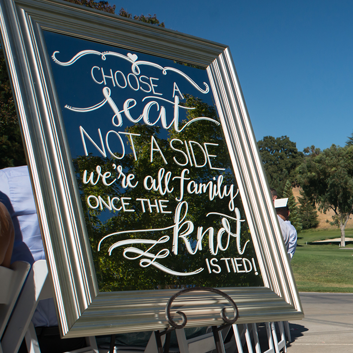 Sweet + Crafty | Mirror Wedding Ceremony Sign Calligraphy
