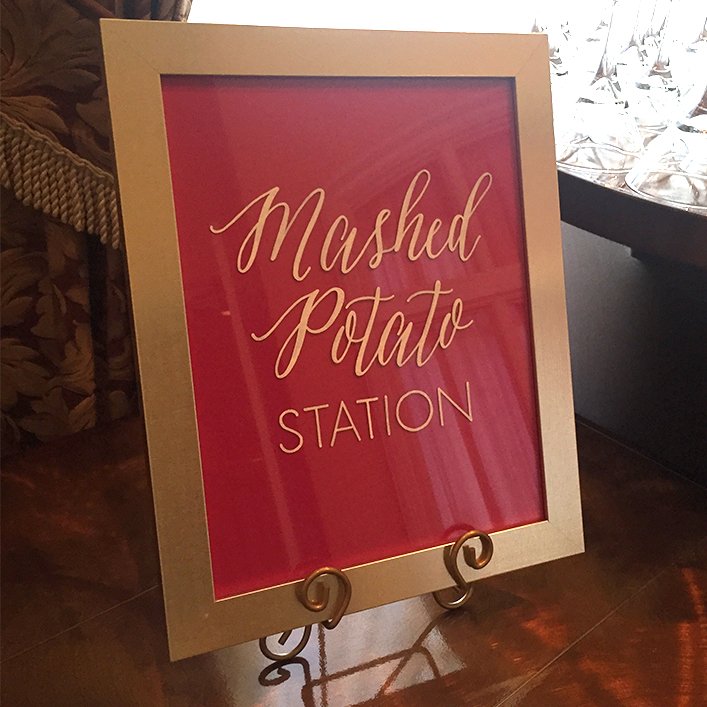 Sweet + Crafty | Framed Glass Dinner Stations Calligraphy Sign