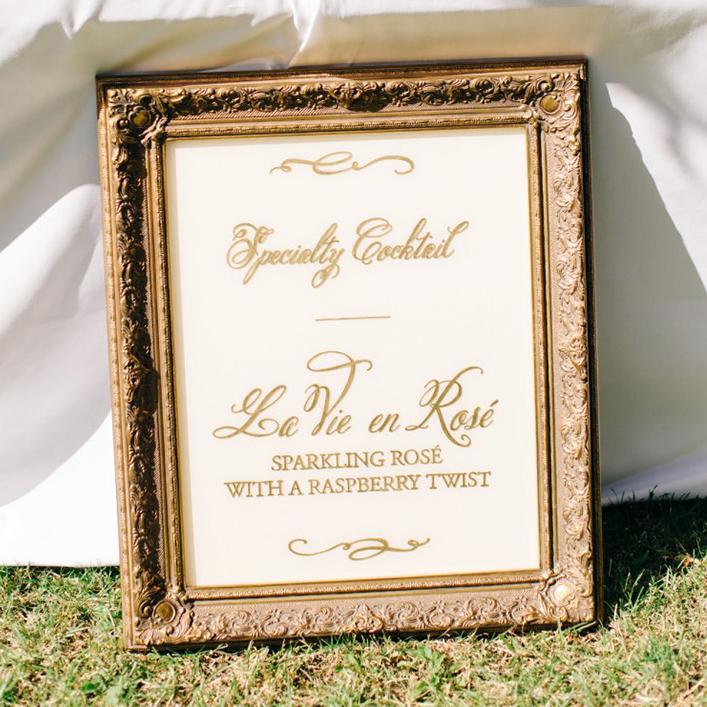 Sweet + Crafty | Gold Framed Plexiglass Bar Menu Calligraphy