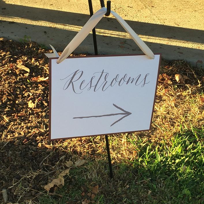 Sweet + Crafty | Cardstock Wedding Restroom Sign