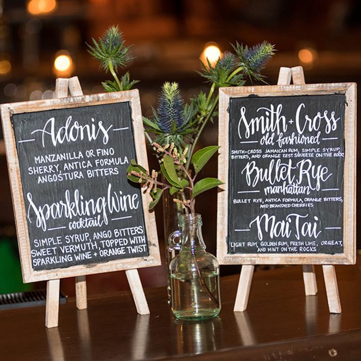 Sweet + Crafty | Chalkboard Wedding Bar Menu Calligraphy