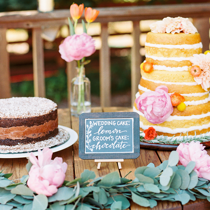 Sweet + Crafty | Chalkboard Wedding Cake Flavor Sign Calligraphy