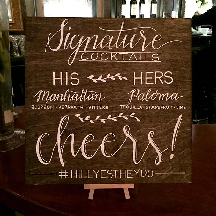 Sweet + Crafty | Stained Wood and White Calligraphy Bar Menu Sign