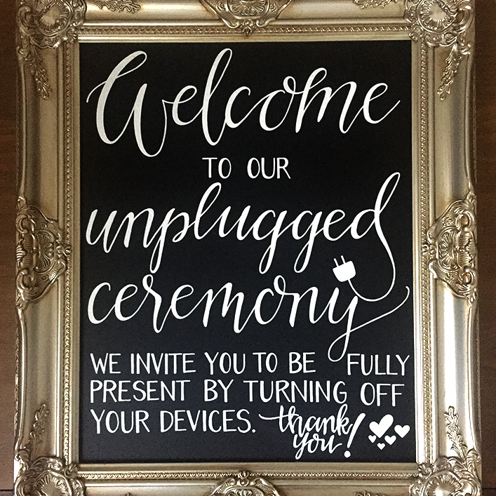 Sweet + Crafty | Wedding Chalkboard Unplugged Ceremony Calligraphy Sign