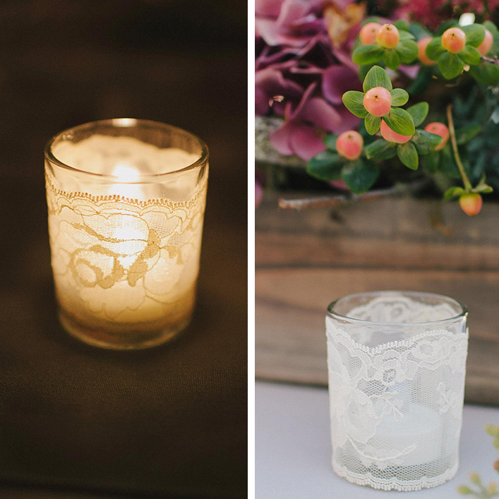 lace-wrapped votives