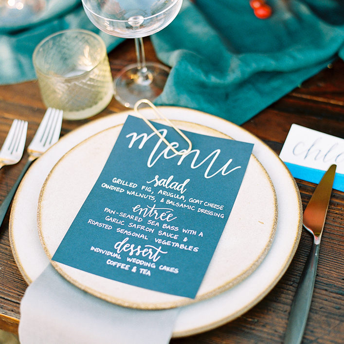 Sweet + Crafty | Wedding Menu Calligraphy and Place Card