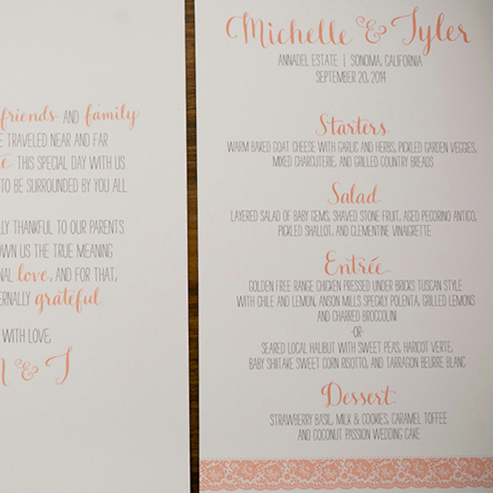 Sweet + Crafty | Wedding Menu and Thank You Note