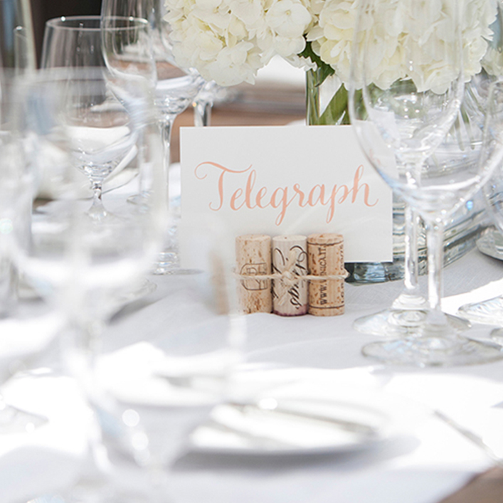 Sweet + Crafty | Wedding Table Name Calligraphy and Wine Cork Holder