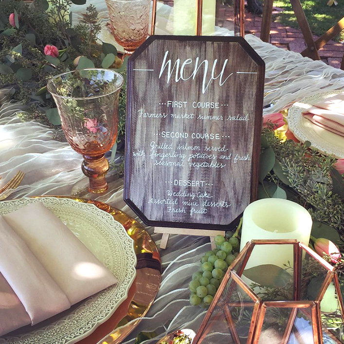 Sweet + Crafty | Wedding Wood Menu Calligraphy