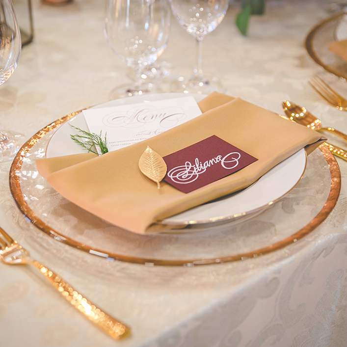 Sweet + Crafty | Wedding Place Card Calligraphy and Menu Design