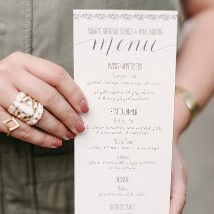 Sweet + Crafty | Birthday Party Menu Design