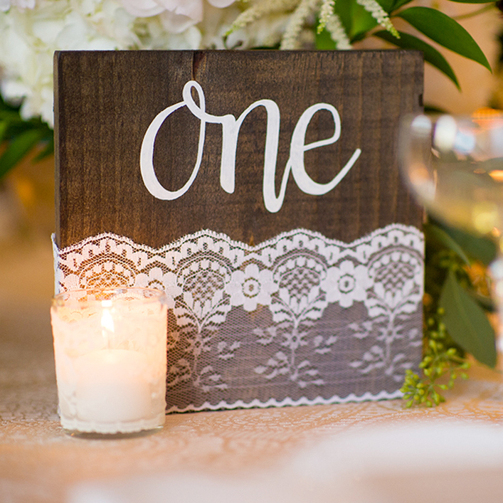 Sweet + Crafty | Wedding Stained Wood and Lace Table Number with White Calligraphy