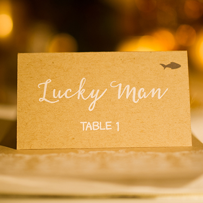 Sweet + Crafty | Wedding Kraft Cardstock and White Calligraphy Place Cards with Meal Choice Indicator