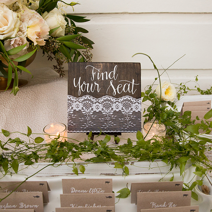 "Sweet + Crafty | Wedding Escort Card Display ""Find Your Seat"" Wood and Lace Sign Calligraphy"