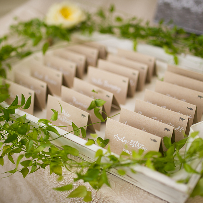 Sweet + Crafty | Wedding Kraft Cardstock Escort Card Display with White Calligraphy