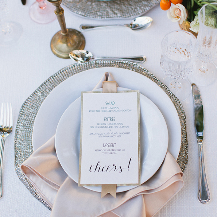 Sweet + Crafty | Wedding Place Settings and Menu Design