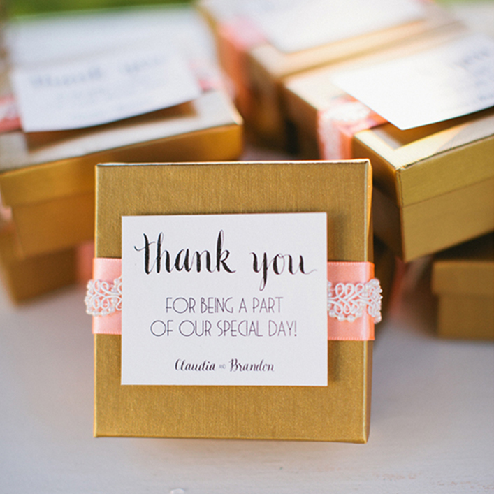 Sweet + Crafty | Wedding Favor Box with Calligraphy Tag
