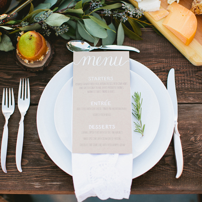 Sweet + Crafty | Wedding Kraft Paper and White Calligraphy Menu Design
