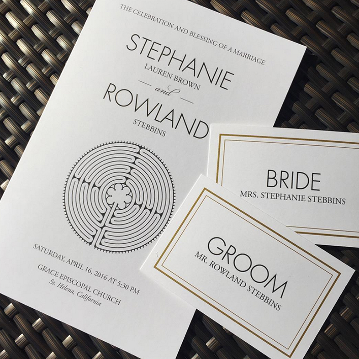 Sweet + Crafty | Contemporary Wedding Programs and Place Card Design