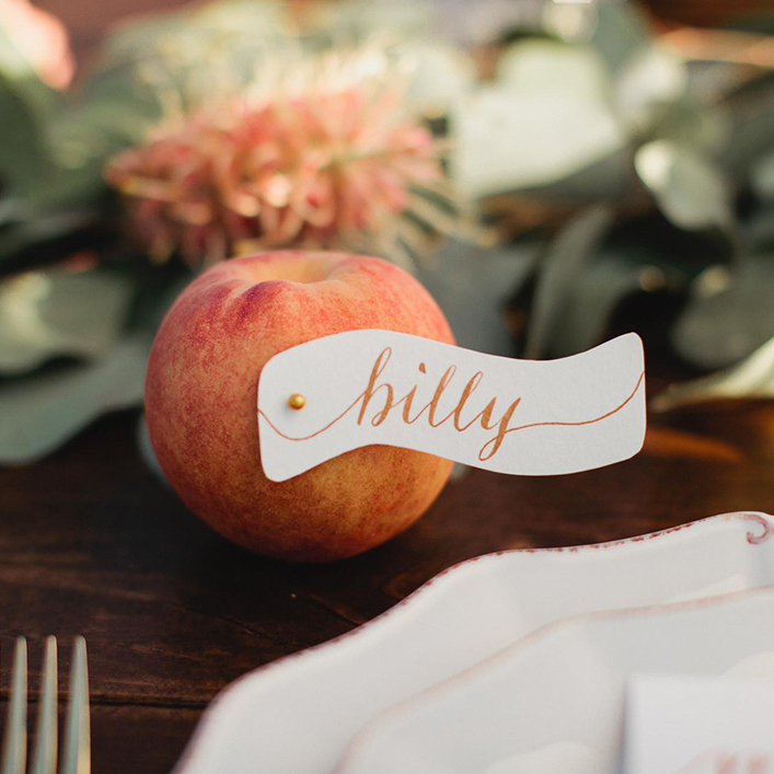 Sweet + Crafty | Wedding Calligraphy Place Card Tags