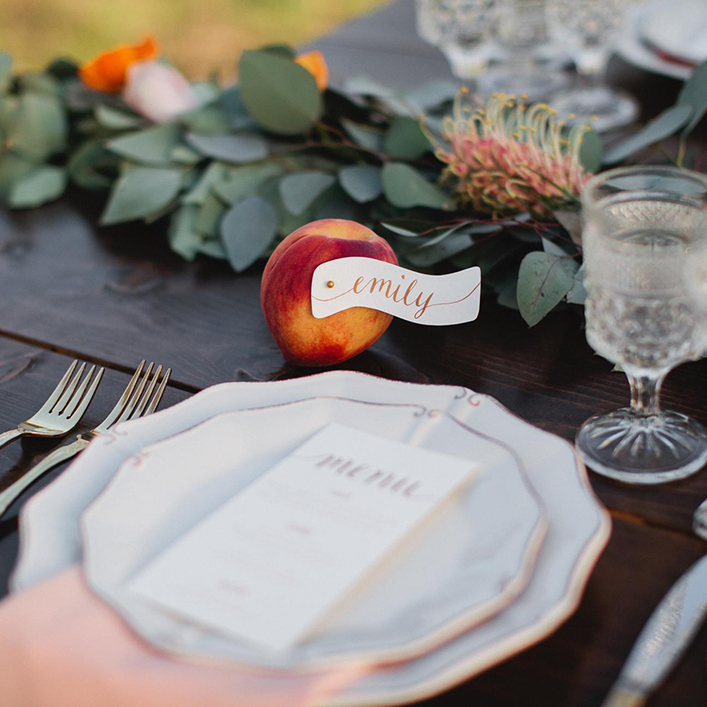 Sweet + Crafty | Wedding Place Settings with Calligraphy Menu Design and Place Card Tags