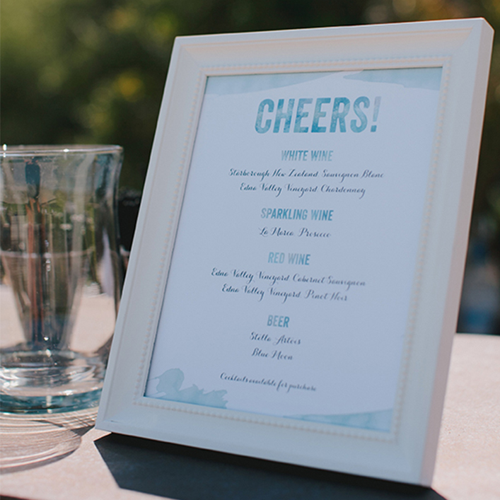 Sweet + Crafty | Wedding Watercolor Design Bar Menu