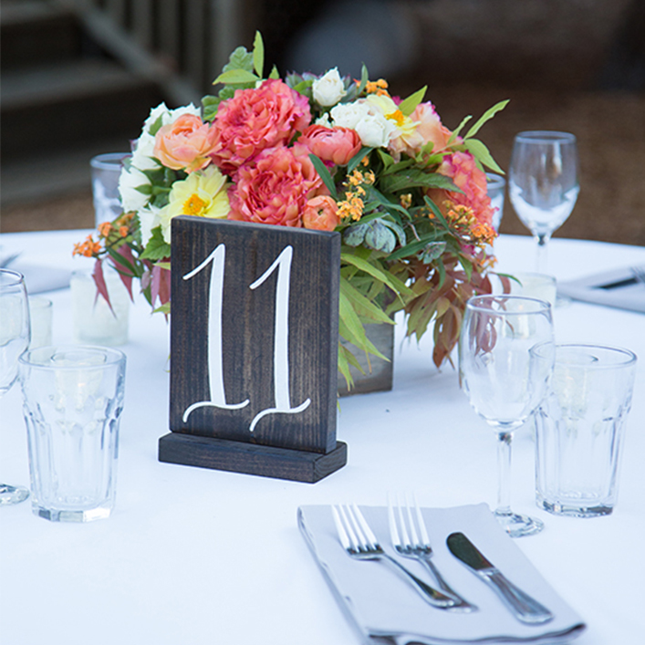 Sweet + Crafty | Wedding Stained Wood and White Calligraphy Table Numbers