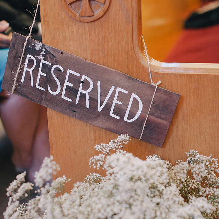 "Sweet + Crafty | Wood and White Hand Lettering Ceremony ""Reserved"" Sign"