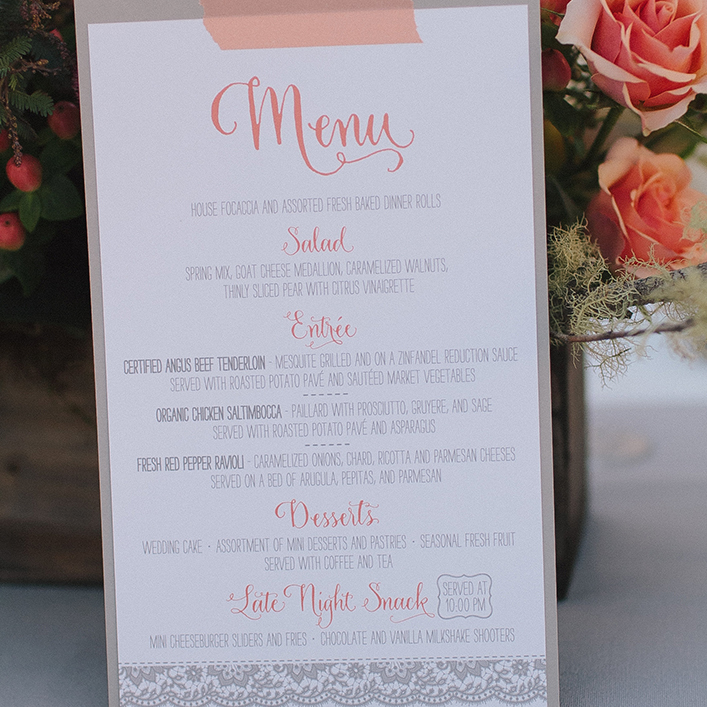 Sweet + Crafty | Wedding Menu Design