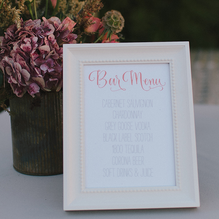 Sweet + Crafty | Wedding Bar Menu Design