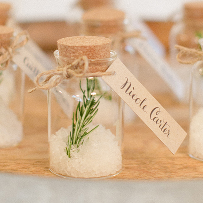 Sweet + Crafty | Wedding Kraft Cardstock and White Calligraphy Favor Tags