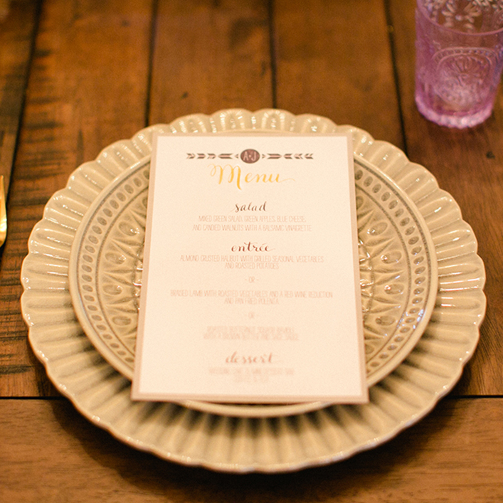 Sweet + Crafty | Boho Wedding Menu Design