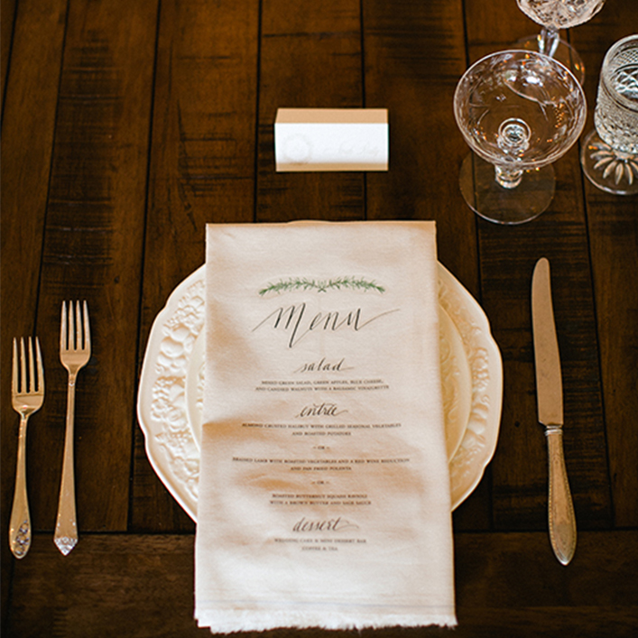 Sweet + Crafty | Wedding Menu Printed on Linen Napkins