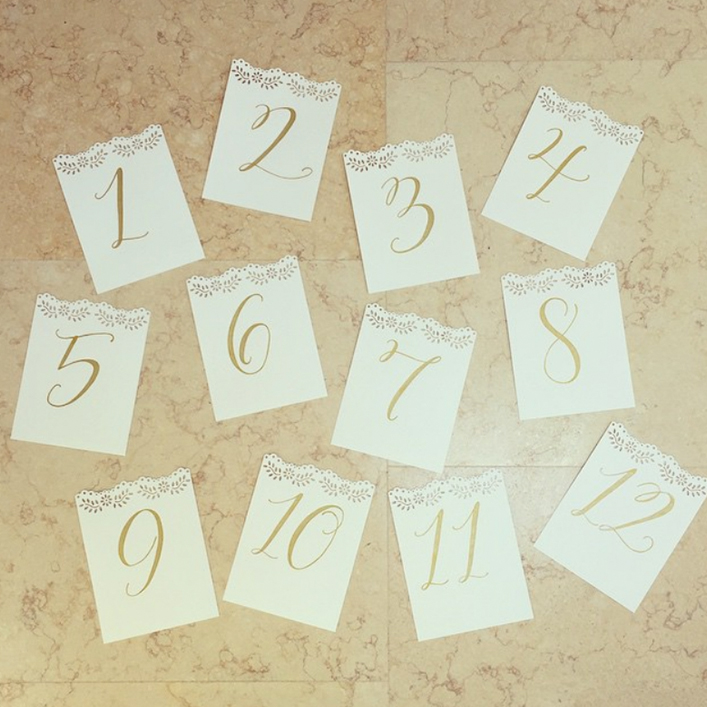 Sweet + Crafty | Bridal Shower Calligraphy Table Numbers