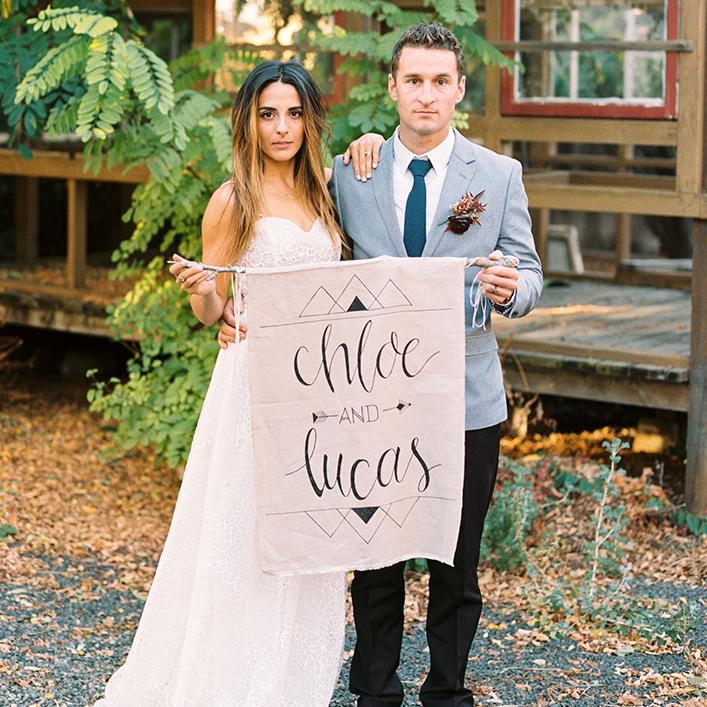 Sweet + Crafty | Boho Fabric Wedding Sign