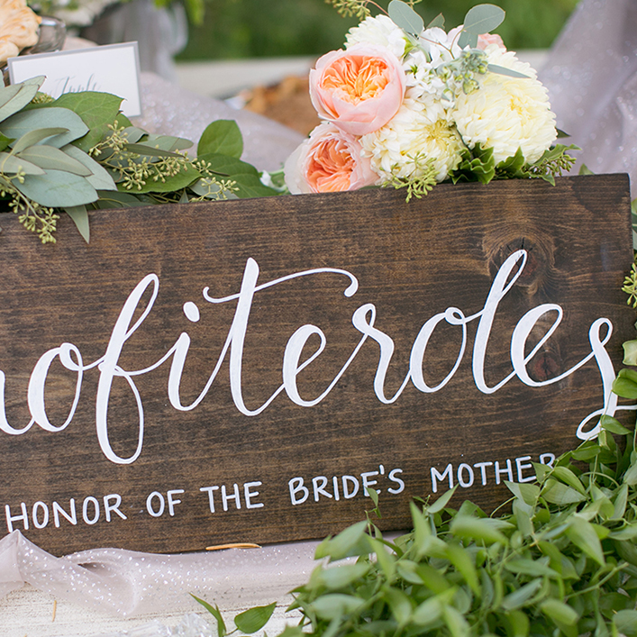 Sweet + Crafty | Stained Wood and White Calligraphy Wedding Dessert Table Sign