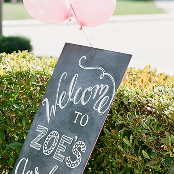 Sweet + Crafty | Chalkboard First Birthday Party Sign Calligraphy
