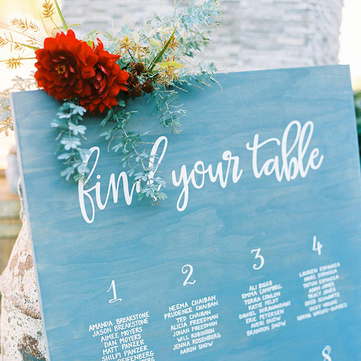 Sweet + Crafty | Blue Washed Wood and White Calligraphy Wedding Seating Chart