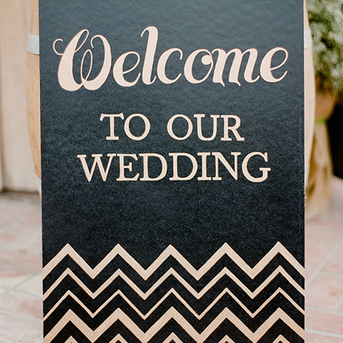Sweet + Crafty | Black and Gold Wedding Welcome Sign
