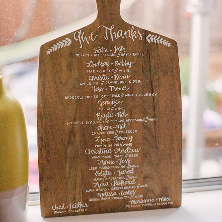 Sweet + Crafty | Friendsgiving Wood Breadboard Menu Calligraphy