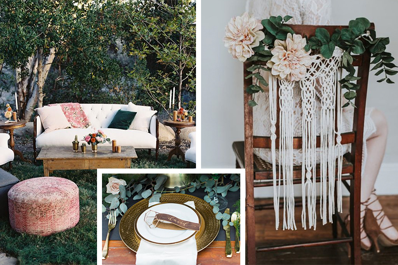 Lounge by Found Vintage Rentals // Photo by Tec Petaja Photography // via Style Me Pretty Calligraphy leather place cards by Hooked Calligraphy // Photo by Meg Cooper Photography  // via Ruffled Blog Chair back macrame via Etsy shop HeirloomAndBloomCo