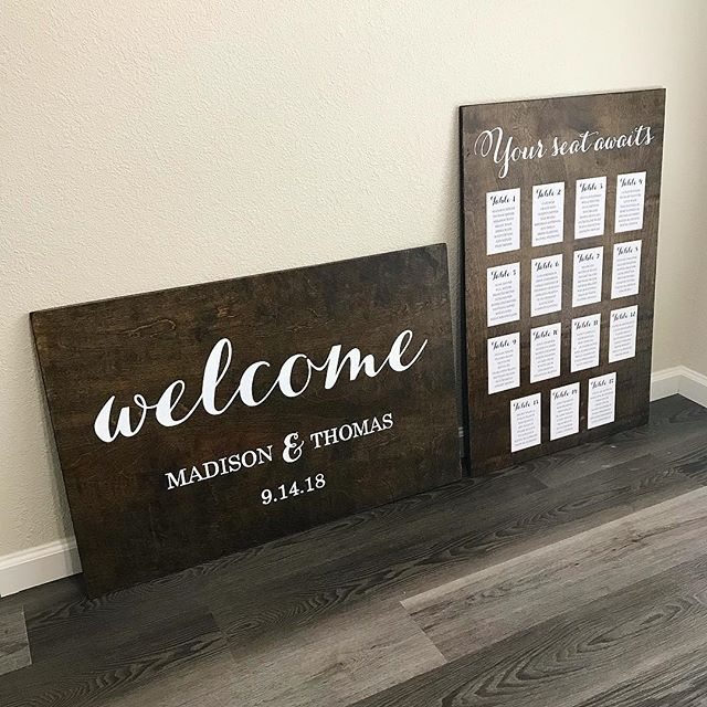Custom designed welcome sign, seating chart, wine cork keychain favors and tags, and table numbers all packed up and ready for @madisonwade wedding this weekend!