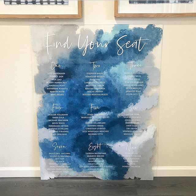 My new favorite! (I know I say it every time...) so grateful for the coolest clients who let me create unique designs with full trust to run with it! Had fun with this seating chart and place cards for a corporate event designed by @aliciakdesigns #corporateevent #eventsignage #corporateeventsignage #customdesign #customsign #acrylicsign #acrylic #paintedacrylic #handpainted #watercoloresq #watercolorstyle #boho #signpanter #acrylicsignage #customsignage #custkmseatingchart #seatingchart #acrylicseatingchart #bluewatercolor #acrylicpaint #placecards #watercolorplacecards #seatingassignments #assignedseating #corporate #eventdesigndetails #designdetails