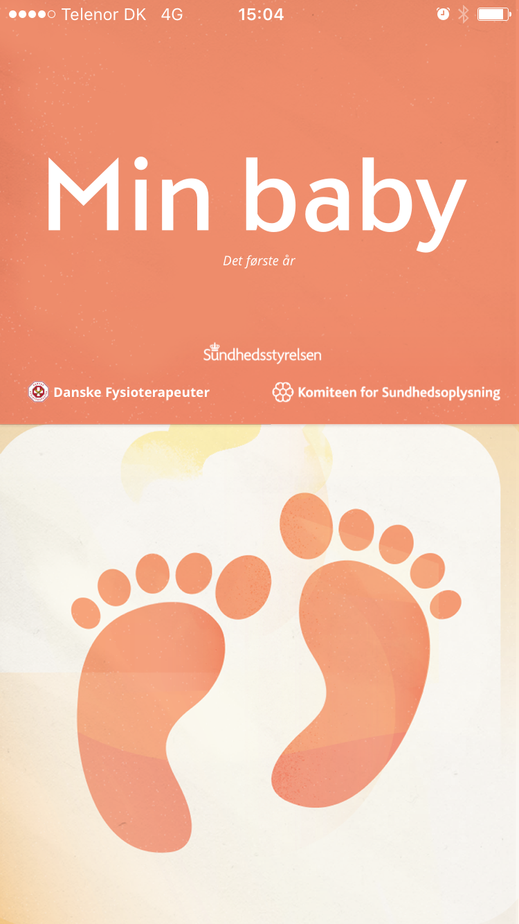 Min Baby app - en app til forældre med nyfødte for Komiteen for sundhedsoplysning, Danske Fysioterapeuter og Sundhedsstyrelsen.
