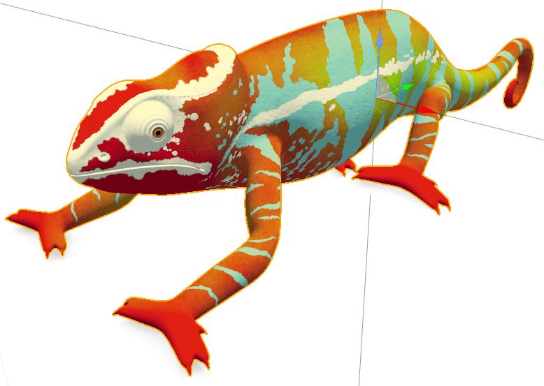 """Apple's """"Chameleon"""" model med teksturer, set i Apple's SceneKit i XCode."""